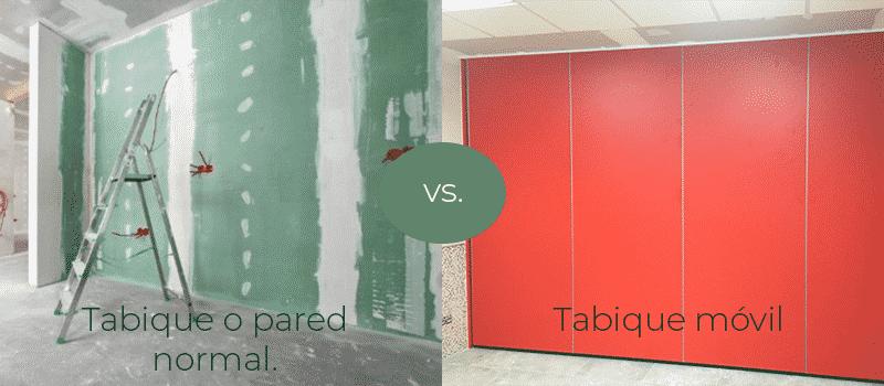 Pared normal vs Tabique móvil - Qué es un tabique móvil - Vimetra.com